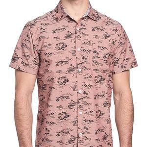 Free Planet Mens Chest Pocket Printed Button Up